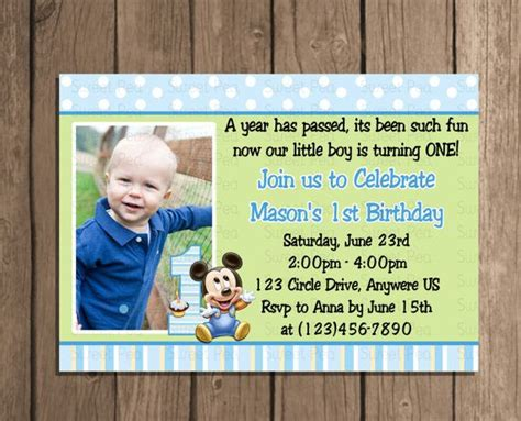 baby boy 1st birthday invitation cards baby mickey mouse boy 1st birthday invitation or thank you card baby mickey mouse