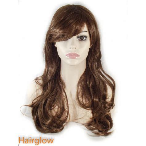 and wavy human hair hairglow brown side fringe long wavy human hair wig