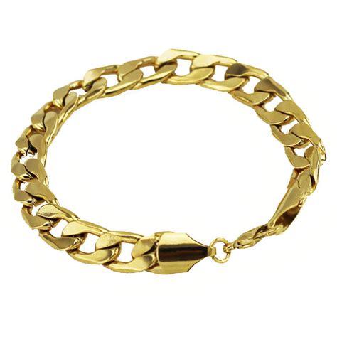 Luxury 9 mm width 18 k Gold Plated Bracelet for Men Man Mens Jewellery BB124   eBay