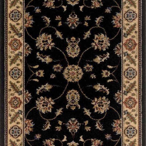 black rug runner trafficmaster kazmir black 26 in x 50 ft roll rug runner 8033bkrnh 030 the home depot