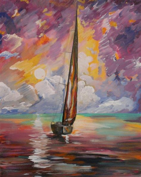 painting with paint with sunset sailing