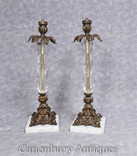 french crystal table ls pair french art nouveau ormolu and crystal glass table