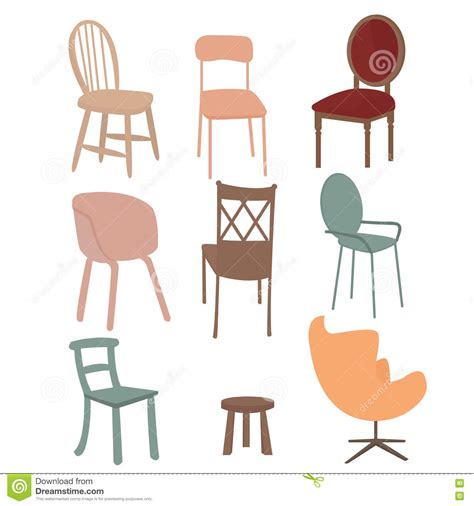 Chair Illustration by Chairs Armchair Furniture Icon Set Flat Interior Graphic