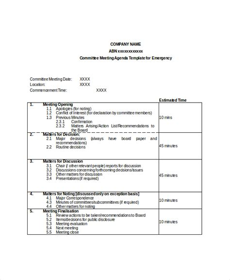 board meeting agenda template 28 images best photos of