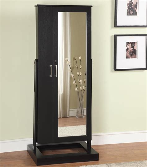 full length mirror jewellery cabinet the range black wooden glossy armoire storage cabinet with wall