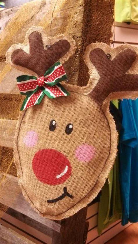 Handmade Reindeer - handmade reindeer burlap door hanger door by