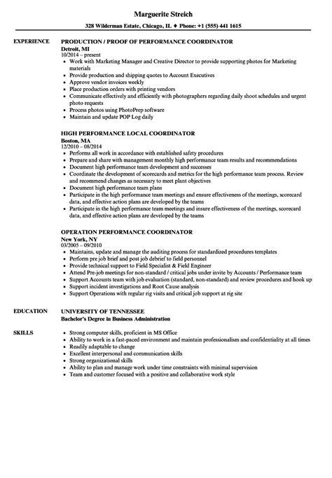 Performance Resume by Performance Coordinator Resume Sles Velvet
