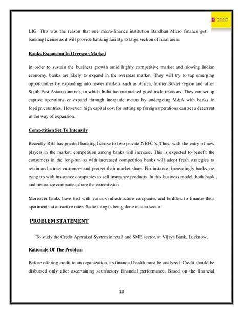 Bandhan Bank Joining Letter vijaya bank project report