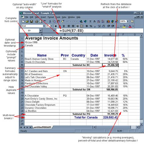 Spreadsheet Builder by Annotated Excel Screenshot Of Spreadsheet Builder Output Additional Software Inc