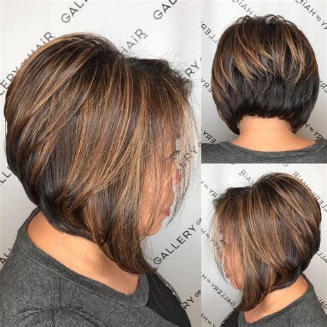 how do you blow dry a stacked wedge haircuts women s brunette stacked angled bob with caramel