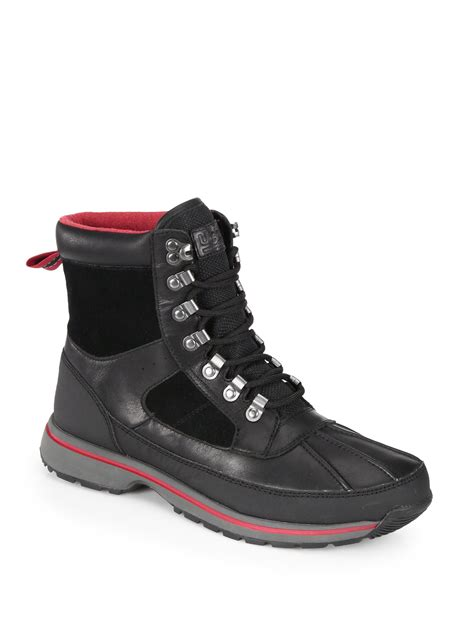 waterproof boots for ugg hilner lace up waterproof boots in black for lyst