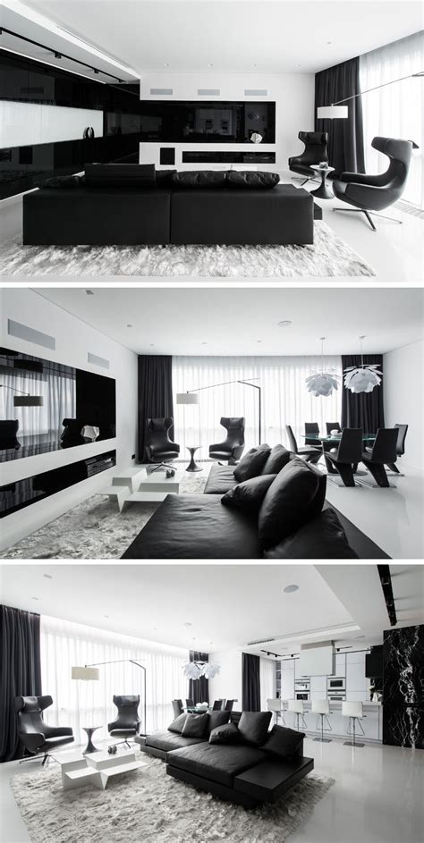 this black and white interior vision is a striking loft in this apartment has an almost entirely black and white