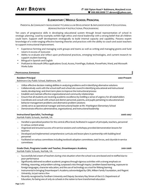 School Principal Resume Sles by Principal Resumes Resume Ideas
