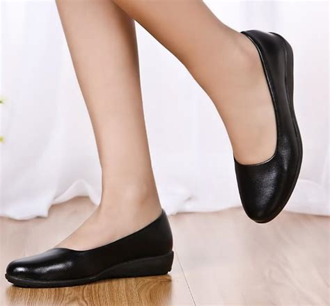 comfortable work shoes for flat feet ultra soft black leather work flat mother shoes single