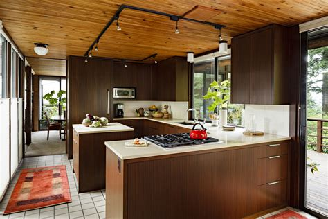 mid century modern kitchen with artistic interior space