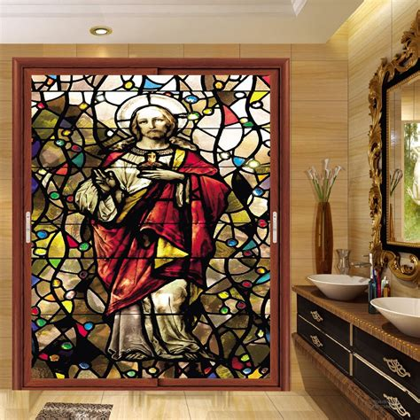 Europe Colored Frosted Static Film Window Stickers Film Stained Glass Stickers For Doors