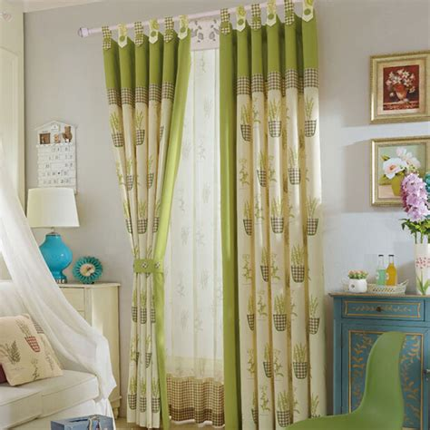 cream green curtains rustic olivegreen cream leaf plaid country insulated curtains