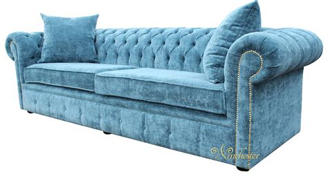 Teal Chesterfield Sofa Chesterfield 4 Seater Settee Elegance Teal Velvet Fabric Sofa Offer