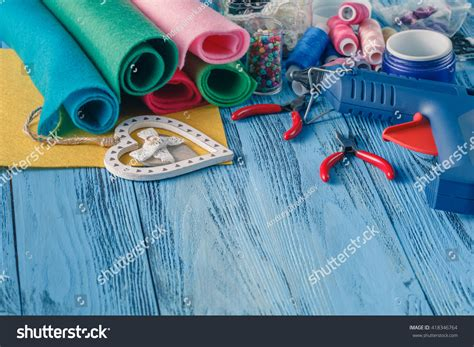 Handcraft Creative - workplace handcraft creative work felt tools stock photo