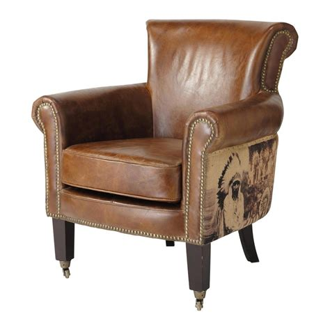 leather armchairs vintage indian vintage leather armchair cambridge cambridge maisons du monde