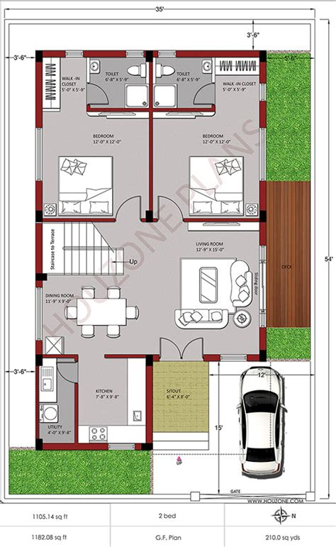 210 Sq Yards Plot Duplex House Design Houzone Duplex House Plans 150 Sq Yards