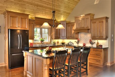 natural cherry wood kitchen cabinets kitchens that linwood custom homes