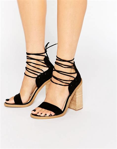 wooden heeled sandals new look new look strappy tie suede wooden heeled sandal
