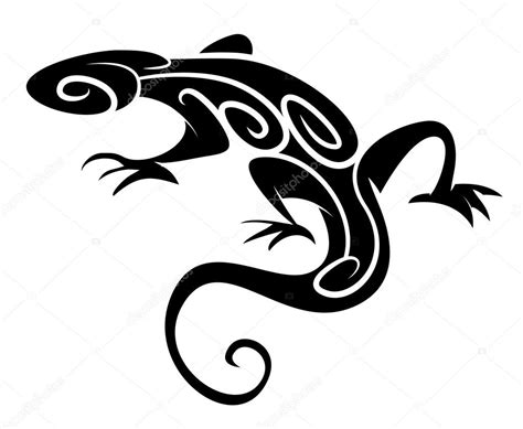 black silhouette lizard tribal tattoo stock vector