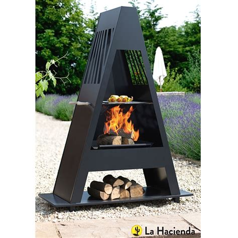 chiminea grill plate la hacienda alpha steel chiminea with grill 146cm on sale