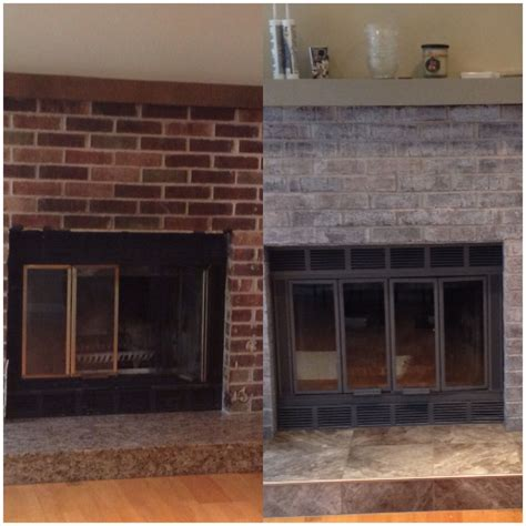 light gray painted brick dyi fireplace i paint washed the brick with a