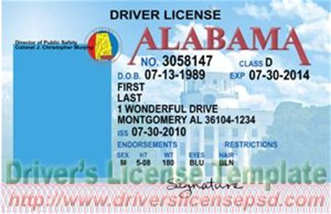 alabama id card template drivers license drivers license drivers license