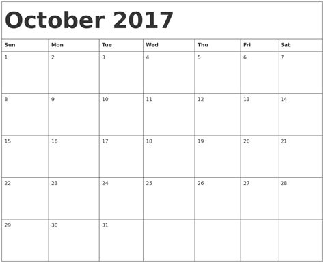 printable calendar sept oct 2017 october calendars