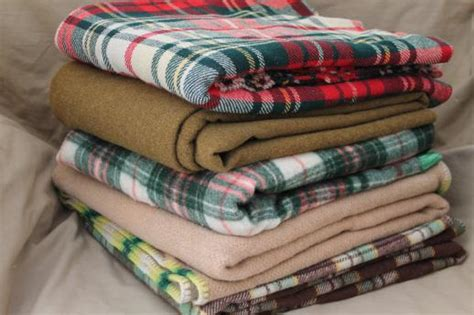 Vintage Blankets And Throws by Shabby Vintage Wool C Blankets Plaid Blankets