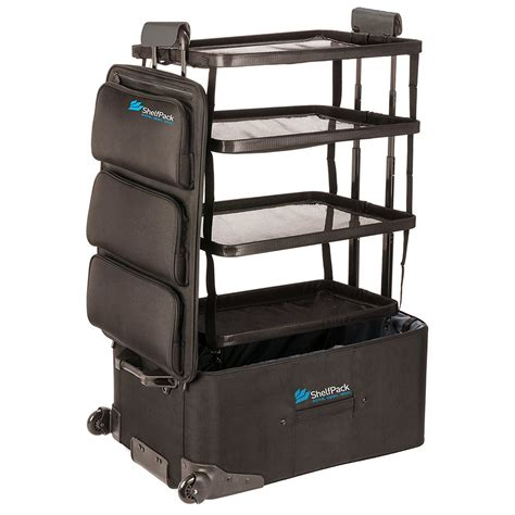shelfpack suitcase with built in shelves the green