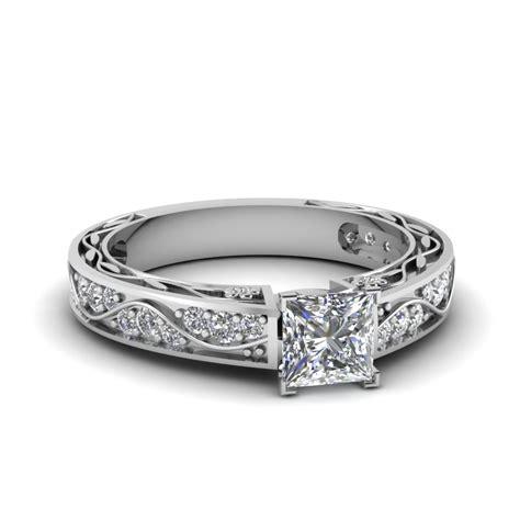 princess cut antique filigree ring in 14k white