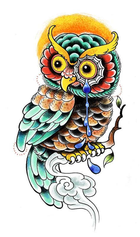 owl tattoo design color amazing color tattoos women styler