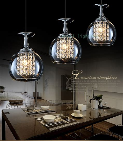 Kitchen Island Lighting Fixtures by 3 Lights Bar Crystal Pendant Lamps Led Hanging Light Glass