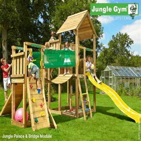 backyard jungle gyms jungle palace bridge module wooden climbing frames