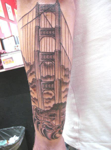 golden gate bridge tattoo glamorous golden gate bridge tower tattoomagz