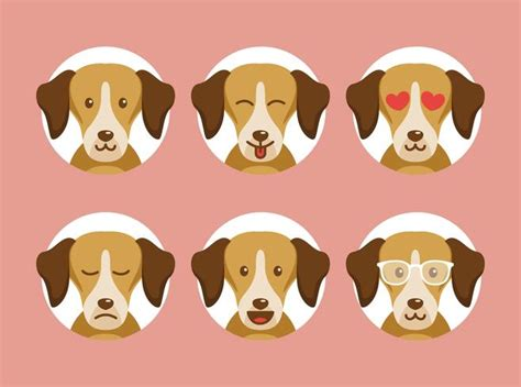 Circle Dogs emotions with circle background free vector