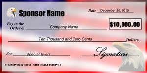 oversized check template patriotic eagle sponsorship check signazon