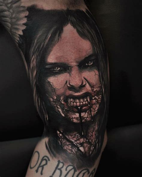 zombie face with dipping blood tattoo tattoo geek