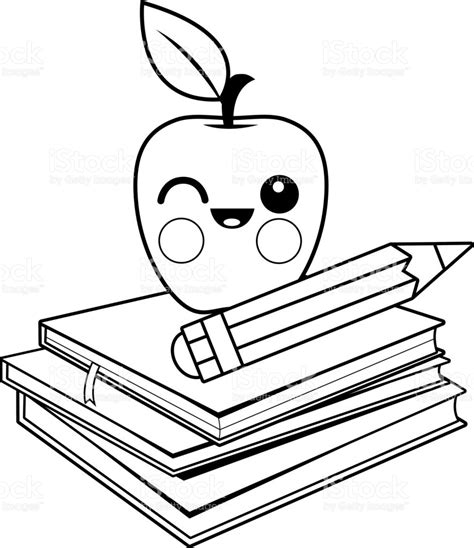 coloring book apple pencil apple books and pencil black and white coloring book page