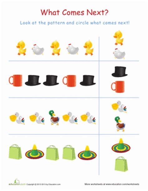 pattern worksheet what comes next pattern worksheets for kindergarten 1000 images about