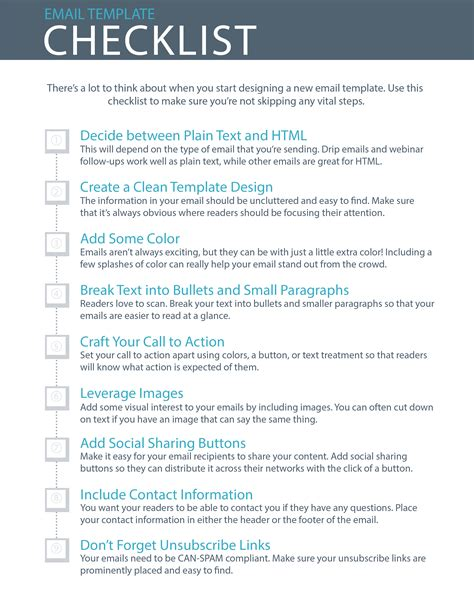 email checklist template 9 essential steps to email template design checklist
