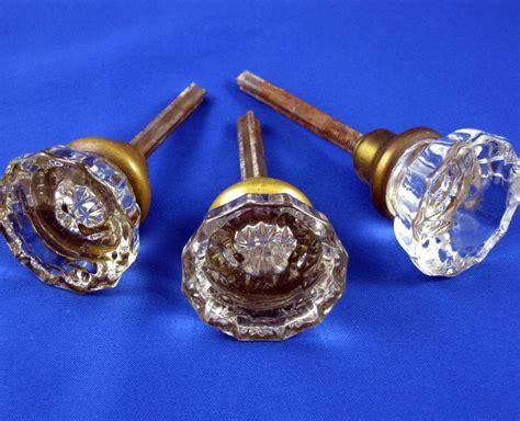 door knobs set of 3 single glass antique vintage