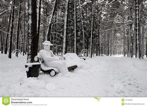 Meditation Bench Plans Snow Covered Park Bench With Yeti Man Stock Photo Image