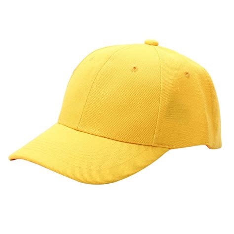 Adjustable Shoo Cap Yellow baseball fishing golf summer sun cap solid color sun visor