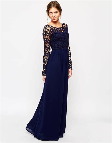 Dress L lyst club l crochet maxi dress with sleeves in blue