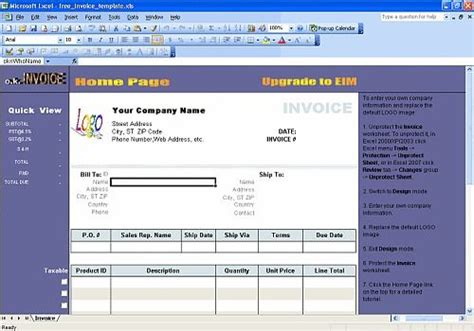 Télécharger Excel Invoice Template pour windows   Freeware